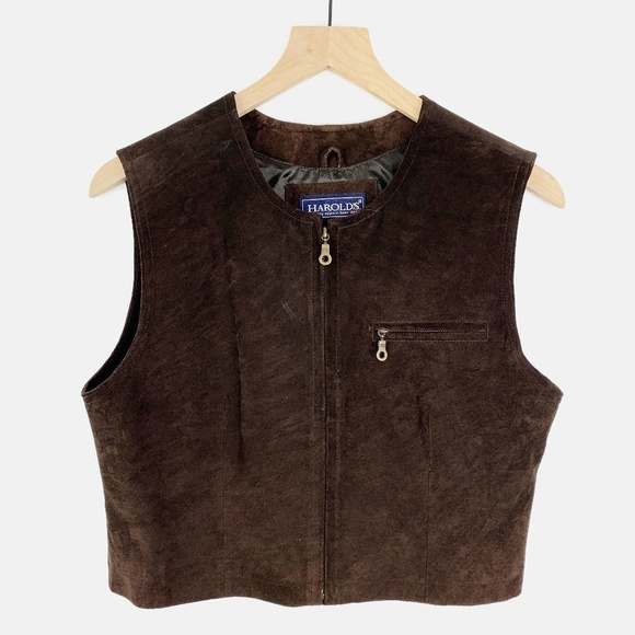 Vintage Jackets & Blazers - Vintage Leather Cropped Vest Chocolate Brown M